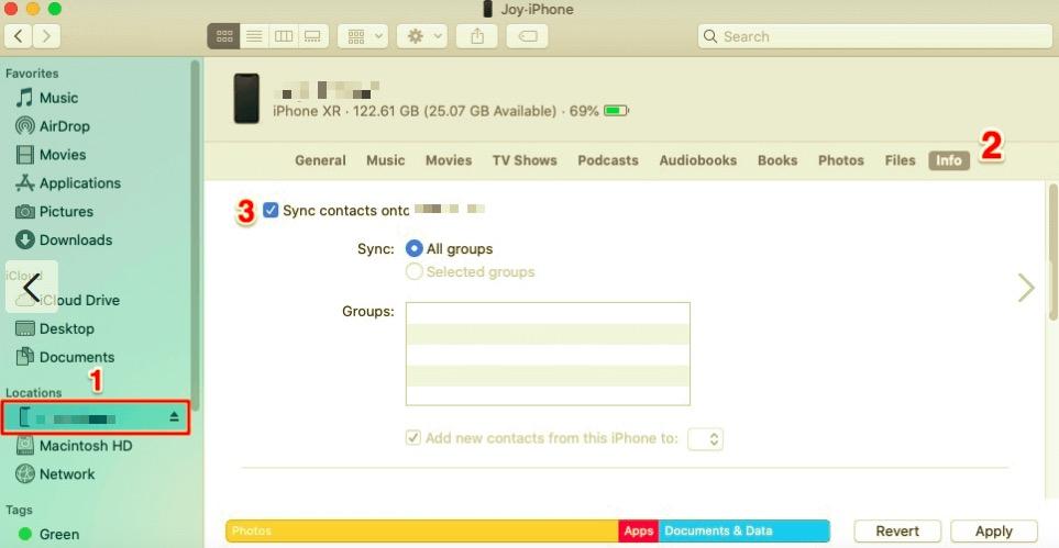 使用 Finder 從 iPhone 通訊錄同步到 Mac