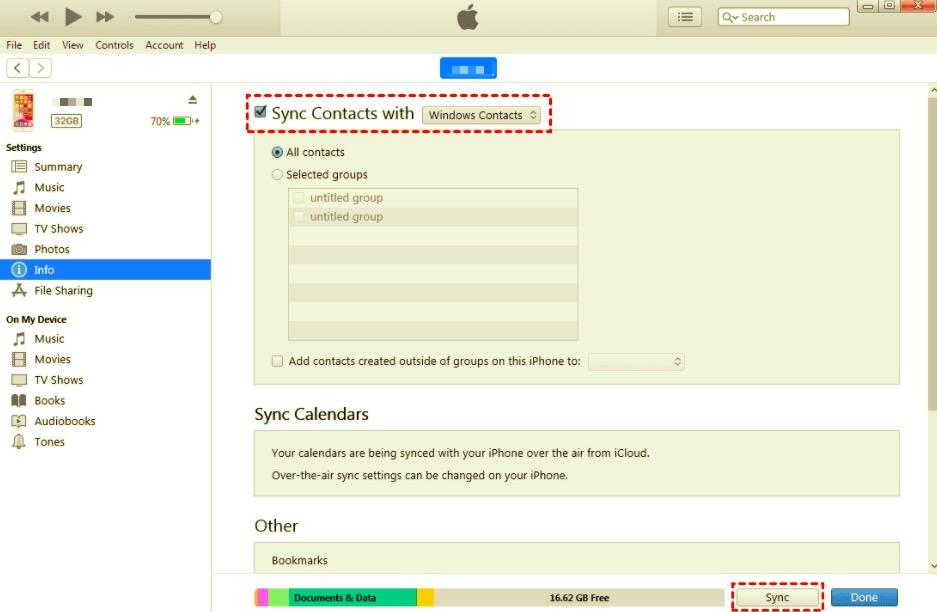 使用 iTunes 從 iPhone 通訊錄同步到 Mac