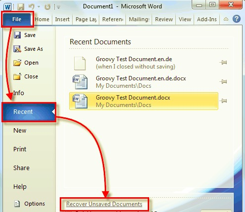 恢復已刪除的 Excel 文件 - 保存的文件