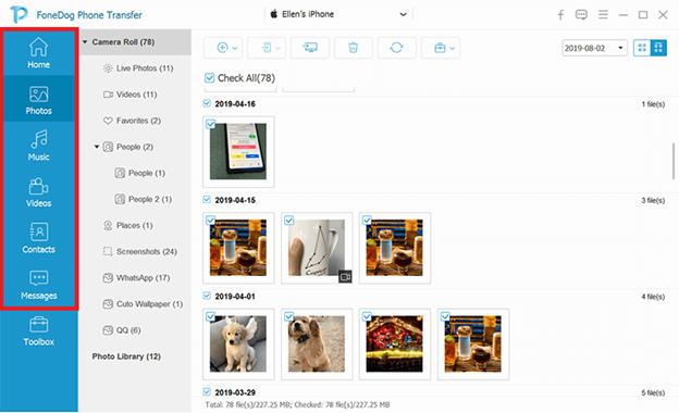 從文件類別中選擇聯繫人以將 Sony Xperia 聯繫人傳輸到 iPhone